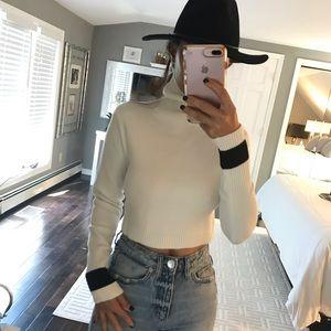 Zara NWT white black crop turtleneck sweater med